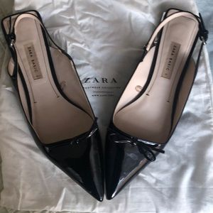 "Zara sling back patent leather flats silver1""heels"